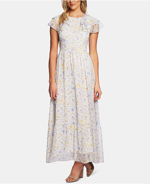 CeCe Ruffled Provence Floral Maxi Dress
