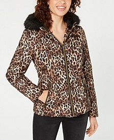 Juniors' Leopard-Print Puffer Coat with Faux Fur Trim Hood