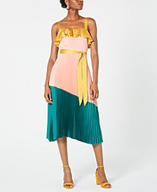 Pleated Colorblocked A-Line Dress