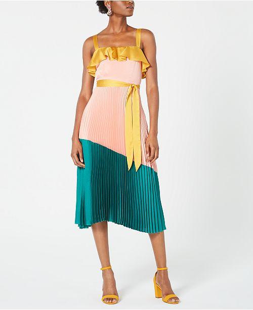 Avec Les Filles Pleated Colorblocked A-Line Dress