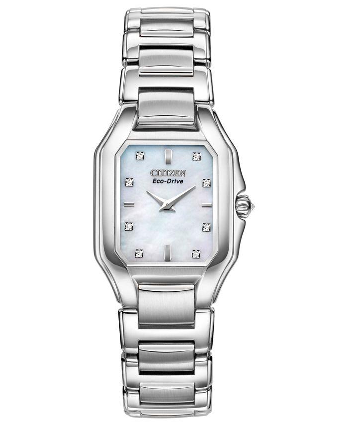 Citizen - Women's Eco-Drive Signature Fiore Diamond Accent Stainless Steel Bracelet Watch 26x24mm EX1190-58D