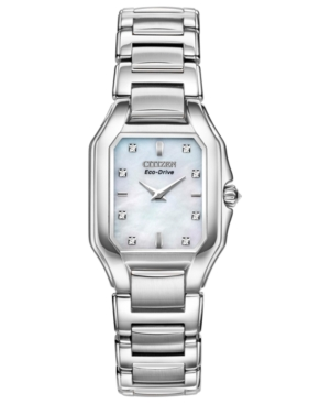 Citizen Women's Eco-Drive Signature Fiore Diamond Accent Stainless Steel Bracelet Watch 26x24mm EX1190-58D