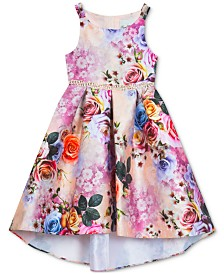 Rare Editions Big Girls Floral-Print Hi-Low Dress
