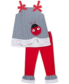 Little Girls 2-Pc. Lady Bug Tunic & Capri Leggings Set