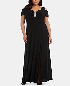R & M Richards Plus Size Rhinestone-Detail Gown