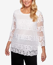 Alfred Dunner Cayman Islands 3/4-Sleeve Crocheted Lace Top