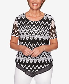 Alfred Dunner Cayman Islands Printed Contrast-Hem Necklace Top