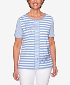 Alfred Dunner The Summer Wind Striped Embroidered Top