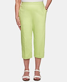 Petite Cayman Islands Button-Trim Cropped Pants