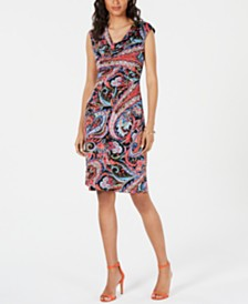 Connected Printed Cowlneck Sheath Dress