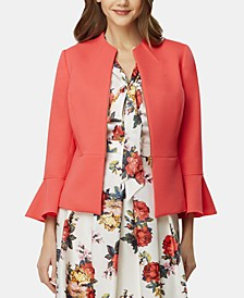 Zippered Bell-Sleeve Blazer