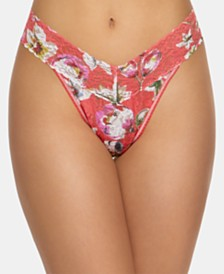 Hanky Panky Women's One Size Floral Lace V-Waist Thong 8G1182