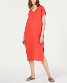 Eileen Fisher Organic Cotton Crinkled Dress, Regular & Petite