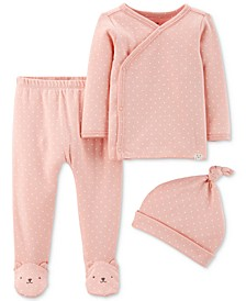 Baby Girls 3-Pc. Dot-Print Top, Footed Pants & Hat Cotton Set