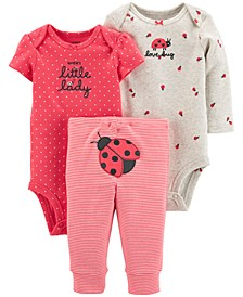 Baby Girls 3-Pc. Cotton Bodysuits & Pants Set