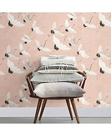 "Brewster Home Fashions Windsong Crane Wallpaper - 396"" x 20.5"" x 0.025"""