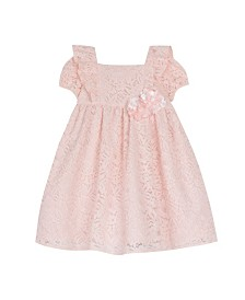 Laura Ashley Toddler and Little Girl's Short Sleeve All-over Lace Dress