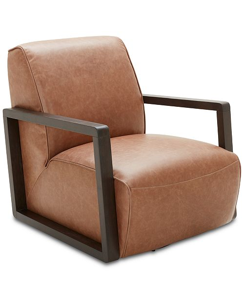 "Furniture CLOSEOUT! Laser 30"" Leather Accent Swivel Chair"