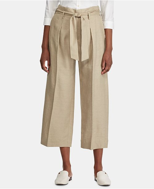 Lauren Ralph Lauren Wide-Leg Paper-Bag Style Pants