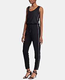Lauren Ralph Lauren Track-Stripe Sleeveless Jumpsuit