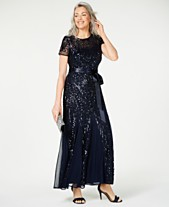 cc976f025e2b R & M Richards Sequin-Embellished Pleated Gown