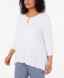 Alfred Dunner Plus Size In The Navy Studded Textured Top