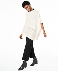 Charter Club Metallic Open-Stitch Poncho Sweater, Created for Macy's