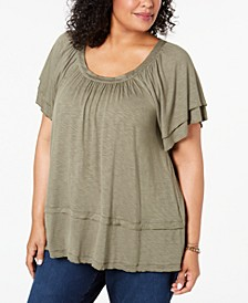 Plus Size Flutter-Sleeve Swing-Hem Top, Created for Macy's