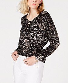 Juniors' Lace-Up Peasant Top, Created for Macy's