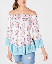 2c029905 Style & Co Printed Off-The-Shoulder Top, Created for Macy's