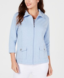 Karen Scott Petite Mock-Neck Zippered Jacket, Created for Macy's