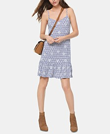 MICHAEL Michael Kors Printed Flounce-Hem Dress