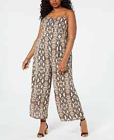Juniors' Plus Size Snake-Print Jumpsuit