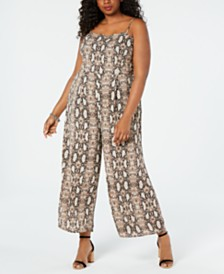 Monteau Juniors' Plus Size Snake-Print Jumpsuit
