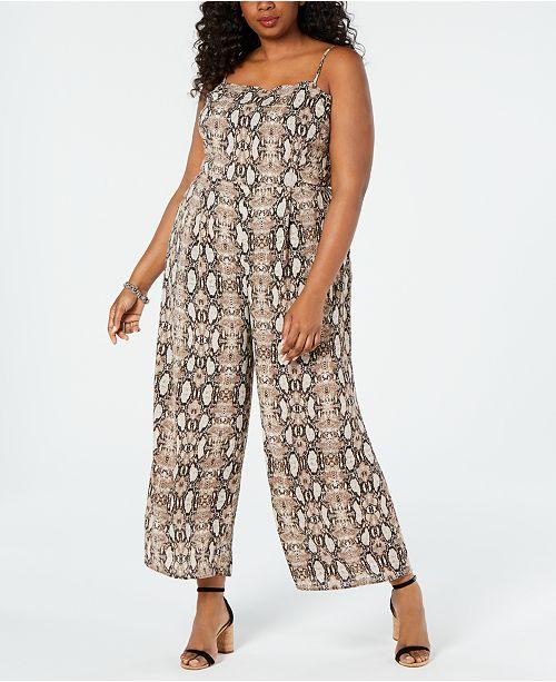 Juniors\' Plus Size Snake-Print Jumpsuit