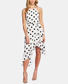 CeCe Dappled Dot Cascading Ruffle Dress