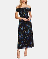 3ca7562f0c9 CeCe Off-The-Shoulder Watercolor Floral-Print Dress