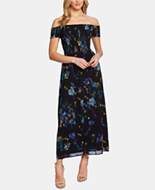 CeCe Off-The-Shoulder Watercolor Floral-Print Dress