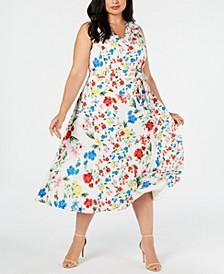 Plus Size Mixed-Floral-Print Dress