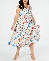 9a3a6b22ff Calvin Klein Plus Size Mixed-Floral-Print Dress