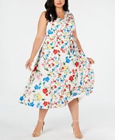 Calvin Klein Plus Size Mixed-Floral-Print Dress