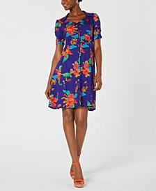 Floral-Print Ruched-Sleeve Shirtdress