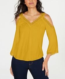 Thalia Sodi Crochet-Trim Cold-Shoulder Top, Created for Macy's