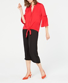Alfani Washed-Satin Tie-Front Blouse & Pull-on Culottes, Created for Macy's