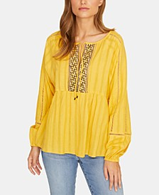 Summer Cotton Embroidered Peasant Top