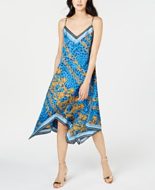 I.N.C. Printed Handkerchief-Hem Slip Dress, Created for Macy's