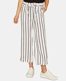 Inland Striped Wide-Leg Capri Pants