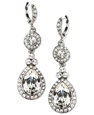 Image of Givenchy Silver-Tone Swarovski Element Double Drop Earrings