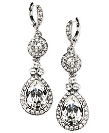 Silver-Tone Swarovski Element Double Drop Earrings