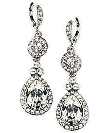 Givenchy Earrings, Silver-Tone Swarovski Element Double Drop Earrings